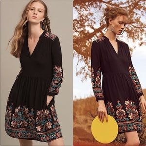 Anthropologie Floreat Avery Embroidered Dress S